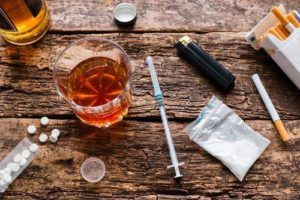 Assorted drugs on a wooden table