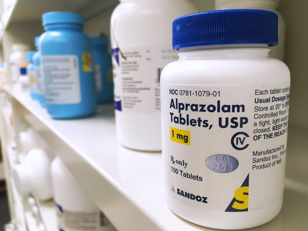 Alprazolam pills in a bottle